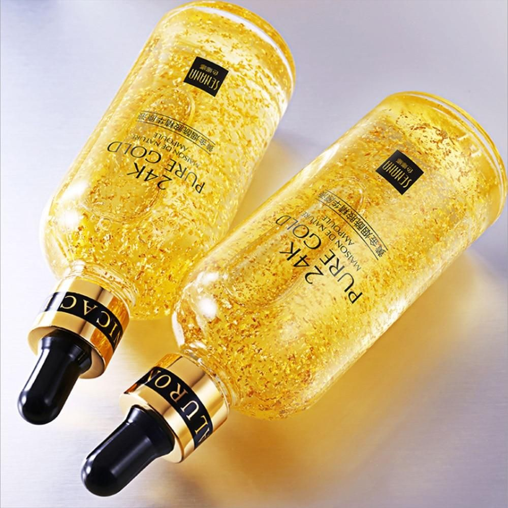 24K Gold Hyaluronic Acid Face Serum Replenishment Moisturize Shrink Pore Brighten Nicotinamide Skin Care Lift Firming Essence (2)