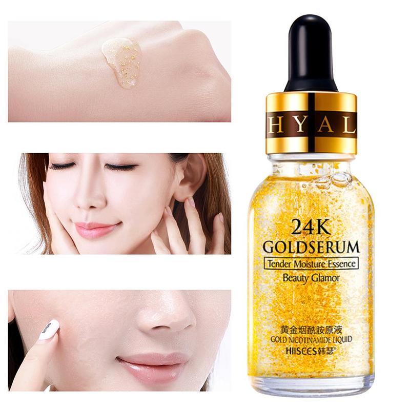 24K Gold Hyaluronic Acid Face Serum Replenishment Moisturize Shrink Pore Brighten Nicotinamide Skin Care Lift Firming Essence (5)